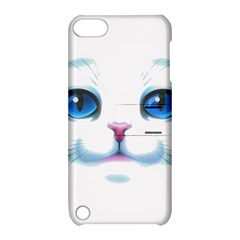 Cute White Cat Blue Eyes Face Apple Ipod Touch 5 Hardshell Case With Stand by BangZart