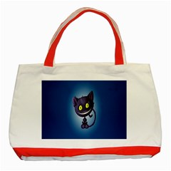Funny Cute Cat Classic Tote Bag (red) by BangZart
