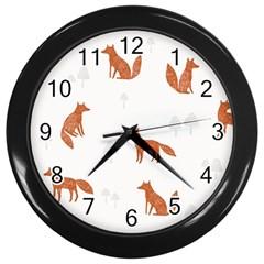 Fox Animal Wild Pattern Wall Clocks (black) by BangZart