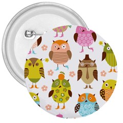 Cute Owls Pattern 3  Buttons by BangZart