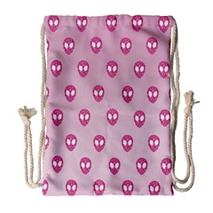 Alien Pattern Pink Drawstring Bag (large) by BangZart