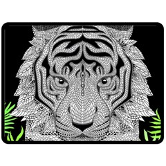 Tiger Head Fleece Blanket (large)  by BangZart