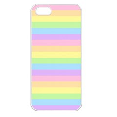 Cute Pastel Rainbow Stripes Apple Iphone 5 Seamless Case (white)