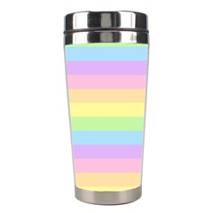 Cute Pastel Rainbow Stripes Stainless Steel Travel Tumblers by BangZart