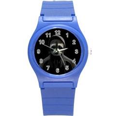 Gangsta Raccoon  Round Plastic Sport Watch (s) by Valentinaart