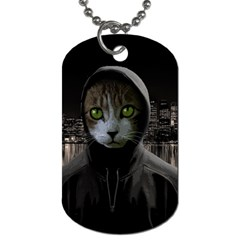 Gangsta Cat Dog Tag (two Sides) by Valentinaart