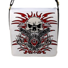 Skull Tribal Flap Messenger Bag (l)  by Valentinaart