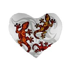 Ornate Lizards Standard 16  Premium Heart Shape Cushions by Valentinaart