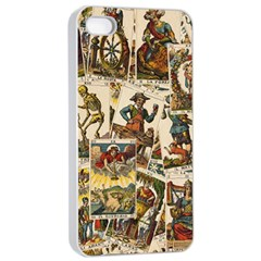 Tarot Cards Pattern Apple Iphone 4/4s Seamless Case (white) by Valentinaart
