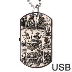 Tarot Cards Pattern Dog Tag Usb Flash (one Side) by Valentinaart