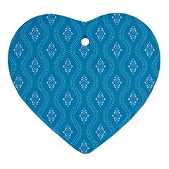 Blue Ornamental Pattern Heart Ornament (two Sides) by TastefulDesigns