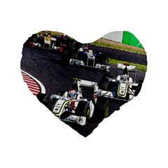 Formula 1 Standard 16  Premium Flano Heart Shape Cushions by Valentinaart