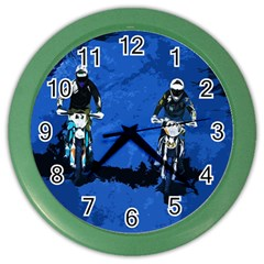 Motorsport  Color Wall Clocks by Valentinaart