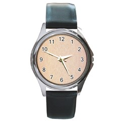 Pastel Colors Glitter Pattern Round Metal Watch by paulaoliveiradesign