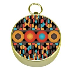 Colorful Geometric Composition Gold Compasses by linceazul
