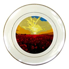 Poppy Field Porcelain Plates by Valentinaart