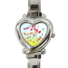 Poppy Field Heart Italian Charm Watch by Valentinaart