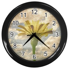 Shabby Chic Style Flower Over Blue Sky Photo  Wall Clocks (black) by dflcprints