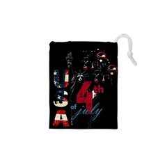 4th Of July Independence Day Drawstring Pouches (xs)  by Valentinaart