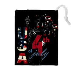 4th Of July Independence Day Drawstring Pouches (extra Large) by Valentinaart