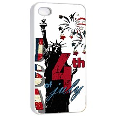 4th Of July Independence Day Apple Iphone 4/4s Seamless Case (white) by Valentinaart