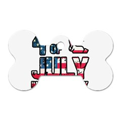 4th Of July Independence Day Dog Tag Bone (one Side) by Valentinaart