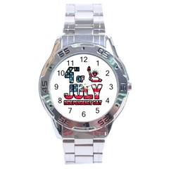 4th Of July Independence Day Stainless Steel Analogue Watch by Valentinaart