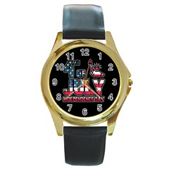 4th Of July Independence Day Round Gold Metal Watch by Valentinaart