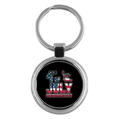 4th Of July Independence Day Key Chains (round)  by Valentinaart