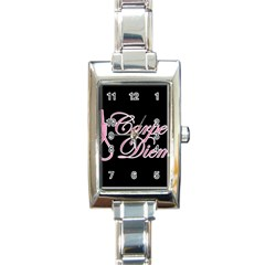 Carpe Diem  Rectangle Italian Charm Watch by Valentinaart