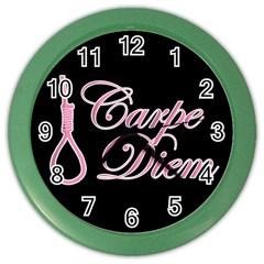 Carpe Diem  Color Wall Clocks by Valentinaart