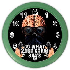 Do What Your Brain Says Color Wall Clocks by Valentinaart