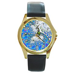 Fractal Fantasy 717b Round Gold Metal Watch by Fractalworld