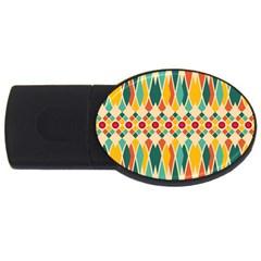 Festive Pattern Usb Flash Drive Oval (4 Gb) by linceazul