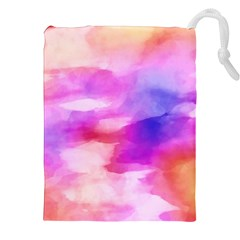 Colorful Abstract Pink And Purple Pattern Drawstring Pouches (xxl) by paulaoliveiradesign