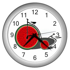 Watermelon Bicycle  Wall Clocks (silver)  by Valentinaart