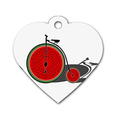 Watermelon Bicycle  Dog Tag Heart (one Side) by Valentinaart