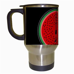 Watermelon Bicycle  Travel Mugs (white) by Valentinaart