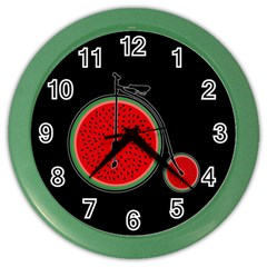 Watermelon Bicycle  Color Wall Clocks by Valentinaart