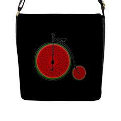 Watermelon Bicycle  Flap Messenger Bag (l)  by Valentinaart