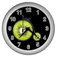 Kiwi Bicycle  Wall Clocks (silver)  by Valentinaart