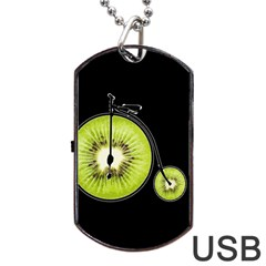 Kiwi Bicycle  Dog Tag Usb Flash (two Sides) by Valentinaart