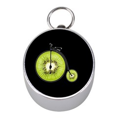Kiwi Bicycle  Mini Silver Compasses by Valentinaart