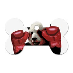Boxing Panda  Dog Tag Bone (two Sides) by Valentinaart