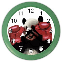 Boxing Panda  Color Wall Clocks by Valentinaart