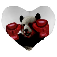 Boxing Panda  Large 19  Premium Heart Shape Cushions by Valentinaart