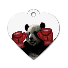 Boxing Panda  Dog Tag Heart (one Side) by Valentinaart