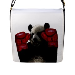 Boxing Panda  Flap Messenger Bag (l)  by Valentinaart
