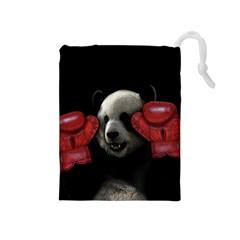 Boxing Panda  Drawstring Pouches (medium)  by Valentinaart