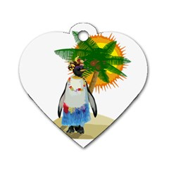 Tropical Penguin Dog Tag Heart (one Side) by Valentinaart